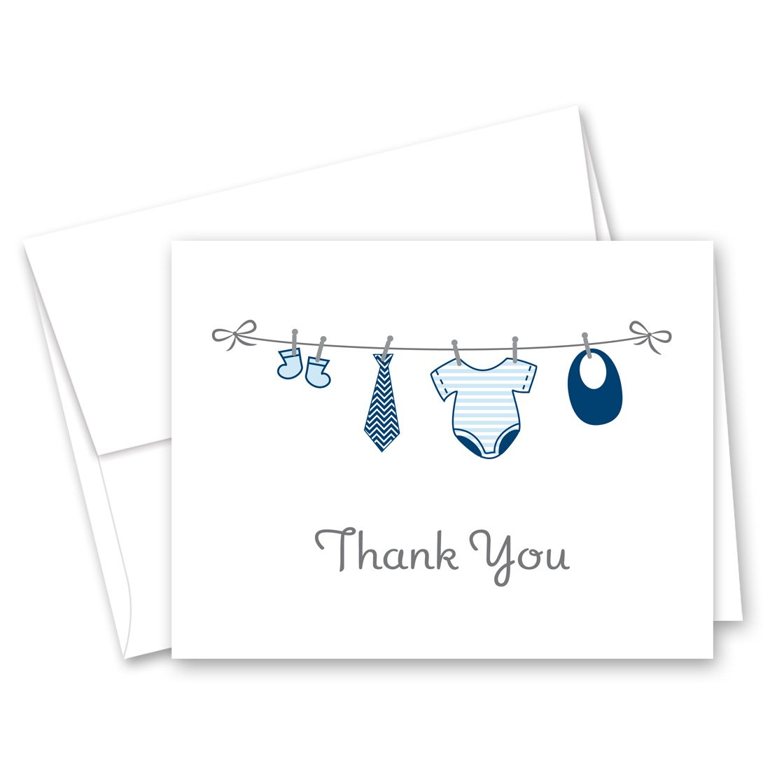 50 Cnt Hanging Baby Boy Cloth Baby Thank You Cards by MyExpression.com