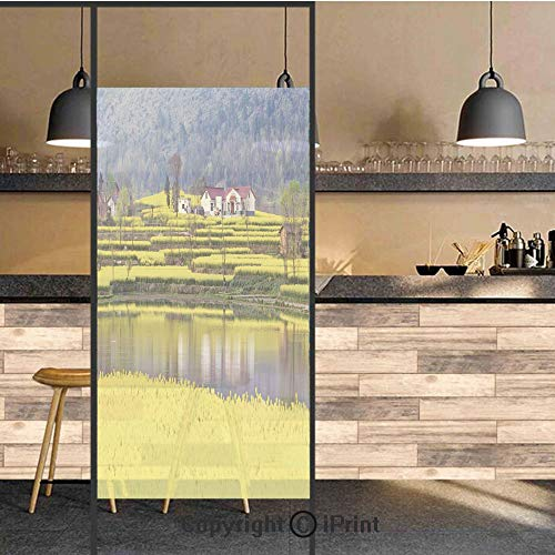 3D Decorative Privacy Window Films,Rural Spring Scenery in Northern Shaanxi China Blossoming Farmland Decorative,No-Glue Self Static Cling Glass film for Home Bedroom Bathroom Kitchen Office 24x71 Inc