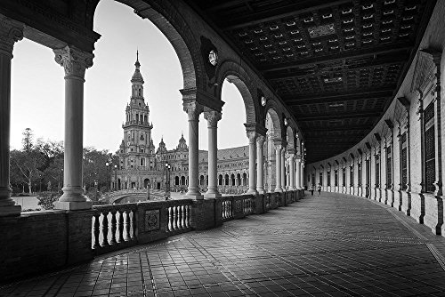 ''Plaza de España'' Fine Art Print, Seville, Andalusia, Spain, Sevilla, Black and White - Travel Photography, Print, Wall Art by TheWorldExplored