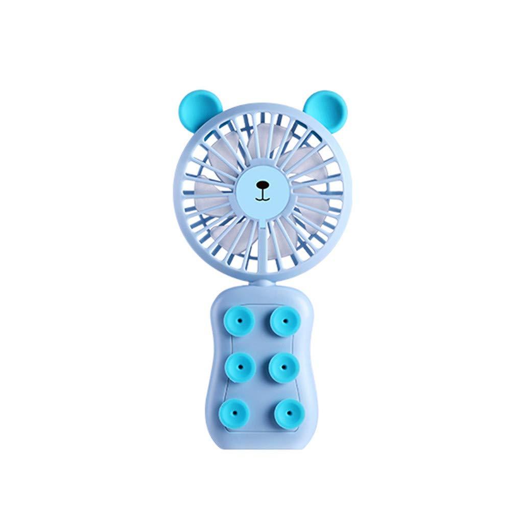 Mini Handheld Fan,Jchen Cute Bear Shape Mini Portable USB Rechargeable Hand Held Cooler Fan for Home Office Outdoor Travel (Blue)