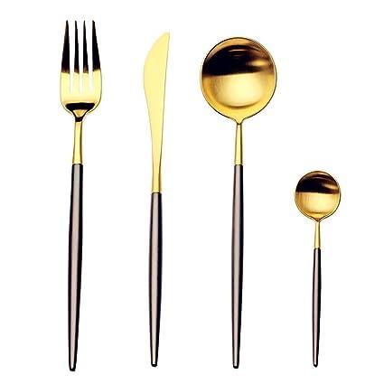 MSure - Cubertería de acero inoxidable (4 piezas, incluye cuchara de tenedor),