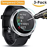 QIBOX Garmin Vivoactive 3 Screen Protector, 3 Pack Tempered Glass Screen Protector for Garmin Vivoactive 3 Ultra Clear Scratch Resistant Anti-Bubble(NOT for vívoactive 3 music edition)
