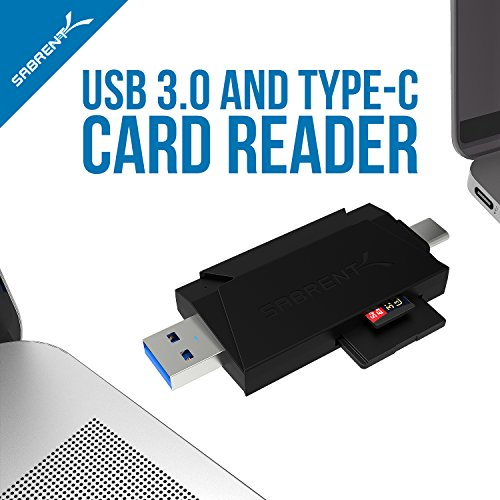 Sabrent 2-Slot Type-C OTG and USB 3.0 Flash Memory Card Read