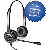 Leitner LH245 Dual-Ear Corded Office Telephone Headset with Cord - Includes a 5-Year Warranty - Works with 98% of Corded Office Phones – Also works with Plantronics M22 Amp and Headset Accessories