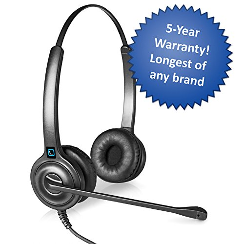 Leitner LH245 Dual-Ear Corded Telephone Headset with 2.5mm Connector for Cordless Home Telephones - Includes 5-Year Warranty