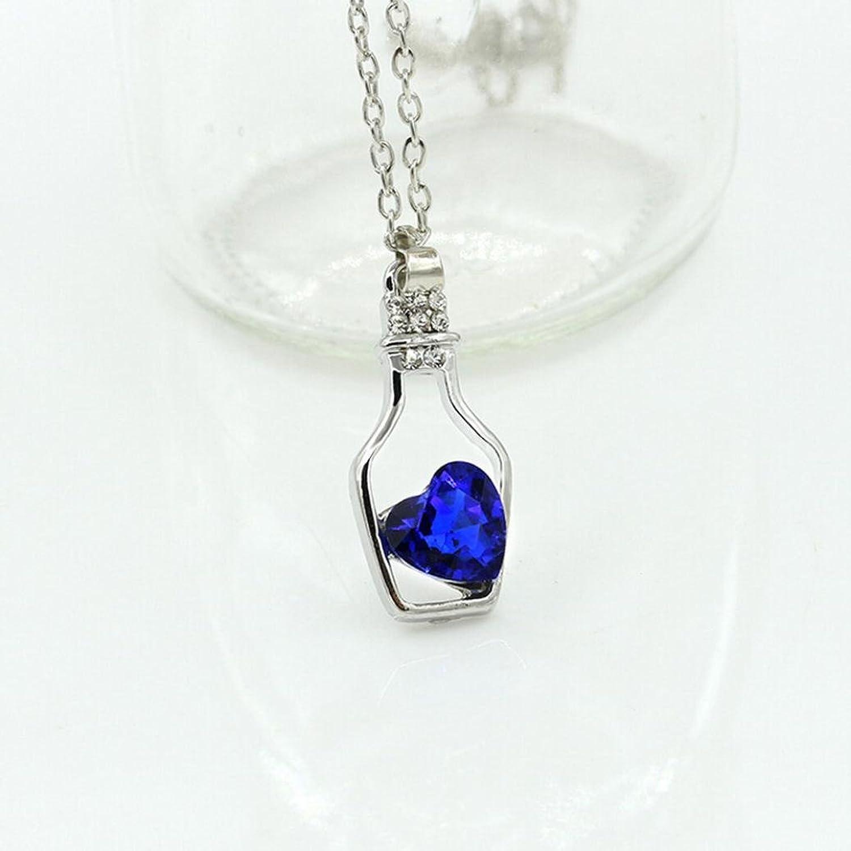 SusenstoneWomen Fashion Popular Crystal Necklace Love Drift Bottles (Blue)