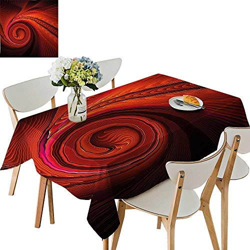 (UHOO2018 Square/Rectangle Polyesters Tablecloth Spooky Spiral Form in Darkness with Digital Effects Perplexed Dreamy Place Image Red Wedding Party,50x 50inch)