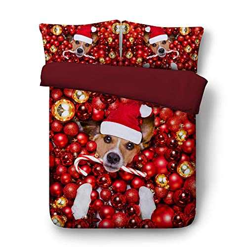 Golden Retriever Pets Cap - EsyDream Christmas Santa Claus Dog Pet Kids Duvet Cover Twin Queen King Cute Pet Golden Retriever Dog Merry Christams Gift Child Bedding Sets No Comforter(Twin Size 3pc)