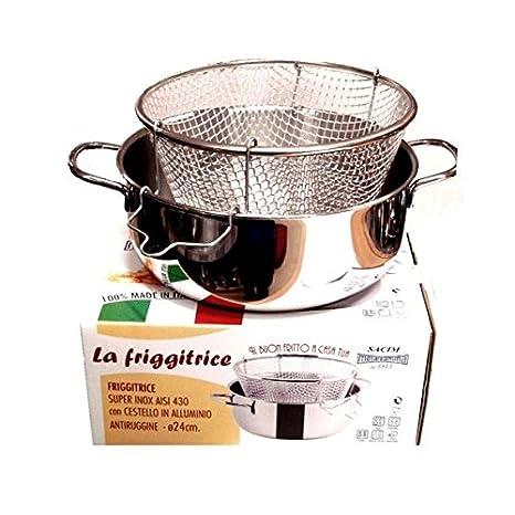 Viscio Trading - 165878 - Freidora inoxidable con cesta de aluminio, apta también para placa de inducción, 24 cm: Amazon.es: Hogar