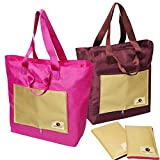 RoryTory 2 pack Various Color Foldable Compact Nylon Shopping Travel Tote Bags