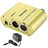 Neewer 1-Channel 48V Phantom Power Supply Pre-amplifier Compact Multi-function with Adapter for Any Condenser Microphone Music Recording Equipment (Gold)