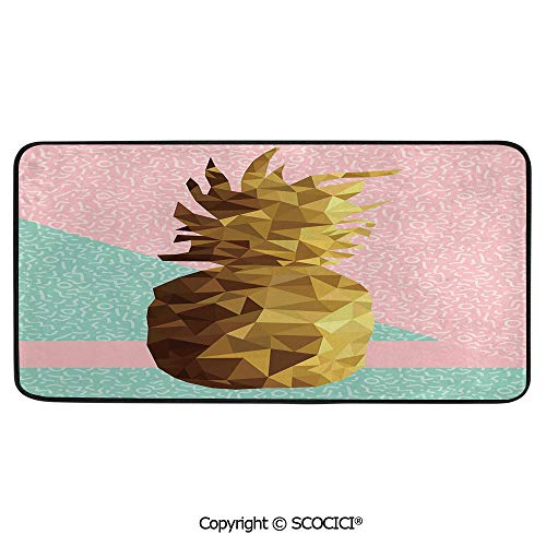 Soft Long Rug Rectangular Area mat for Bedroom Baby Room Decor Round Playhouse Carpet,Indie,Retro Summer Concept Pine Fruit in Poly Design Memphis,Light,39
