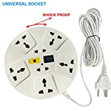 Elove Extension Board , Elove 6 Amp Multi Plug Point Extension Cord (3 Meter) With Led Indicator And Universal Socket - White