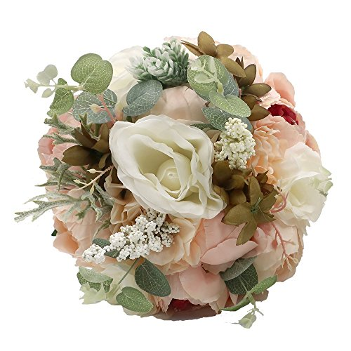 Abbie Home Wedding Bouquet - Artificial Roses Peony Lily Real Touch Bridal Holding (Beach Bridal Bouquets)