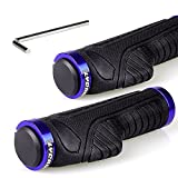 LYCAON Bike Handlebar Grips, Two Sides Locking Non-Slip-Rubber Bicycle Handle Grip with Aluminum Alloy Lock, Bike Grip for Scooter Tricycle Mountain Road Urban Folding Bike MTB BMX (Blue)
