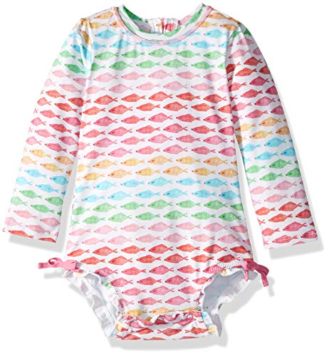 Hatley Girls Baby Rash Guard, Watercolor Fishies, 18-24 Months