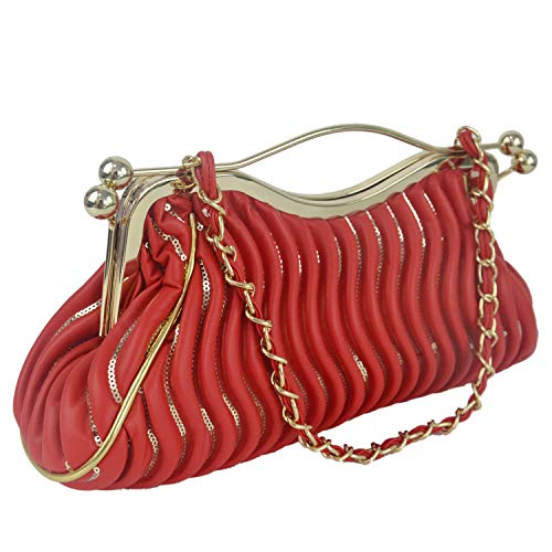 Clutch Vintage Handbag Purse Pleated Bags For Aisunne Evening Womens Wedding Cocktail Leather Red Party wp6xY