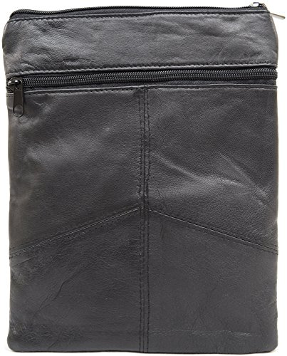 Ladies/Womens Super suave piel hombro Cruz Cuerpo Bolsa con Extraíble/correa ajustable (negro)