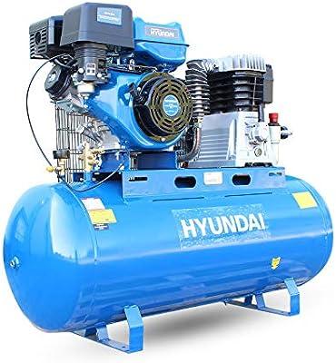 Hyundai HY140200PES Compresor de aire de gasolina de arranque eléctrico, 29 cfm, 14 cv, 200 litros, transmisión por correa de cilindro doble.: Amazon.es: Bricolaje y herramientas