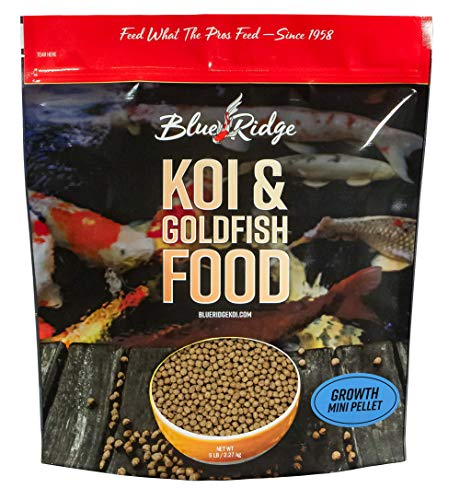Blue Ridge Fish Food Pellets [5lb] Koi and Goldfish Growth Formula, Mini Floating Pellet, Balanced Diet (Best Food For Goldfish Growth)