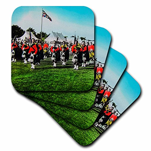 3dRose 3D Rose Vintage Scottish Pipers British Army Bagpipes Scotland 1910 Ceramic Tile Coasters, Multicolor