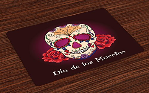 Ambesonne Day of The Dead Place Mats Set of 4, Dia de Los Muertos Spanish Skull Dead Head Skeleton Vivid Print, Washable Fabric Placemats for Dining Room Kitchen Table Decor, Plum Red Cream ()