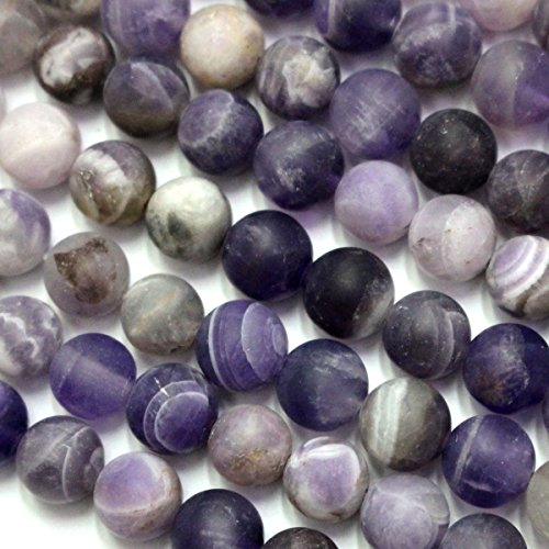 Natural Color Genuine Unpolished Matte Amethyst Round Real Gemstones Loose Beads for Jewerly Bracelet Making (8 Genuine Amethyst Stones)