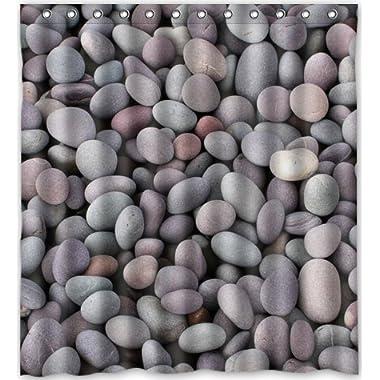 Pebble Stone Waterproof Fabric Polyester Bathroom Shower Curtain 66 (w) x 72 (h)