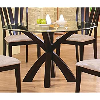 Coaster Home Furnishings 101071 Casual Dining Table Base Deep Merlot Finish Glass Not Included