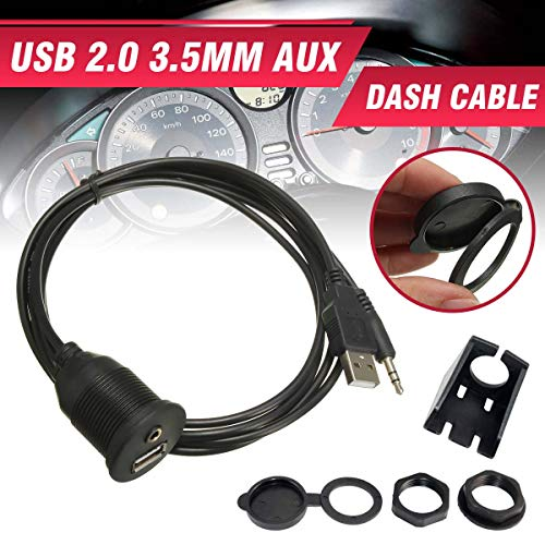 - GOLDEN2STAR - New 1m Car Dash Board Mount 3.5mm USB 2.0 AUX Socket Extension Lead Panel Cable