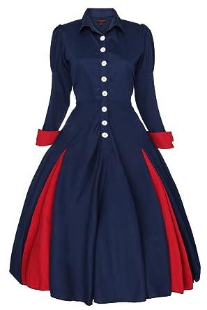 la meilleure attitude ba4a2 8619d Neuf Femmes Edwardian Vintage De 1900 Des Années 20 Retro Swing Victorien  Manteau Robe - Bleu marine, EU 48