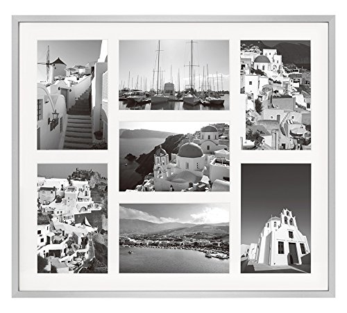 Six Frame Display - Golden State Art 13.7x15.7 Silver Collage Frame - Ivory Mat - Displays Seven 4x6 Photos - Aluminum Metal - Real Glass, Sawtooth Hanger, Swivel Tabs - Wall Mounting, Landscape, Portrait
