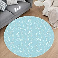 Nalahome Modern Flannel Microfiber Non-Slip Machine Washable Round Area Rug-ing Branches with Small Delicate Leaves Twigs Gardening Plants Zen Decor Light Blue White area rugs Home Decor-Round 36