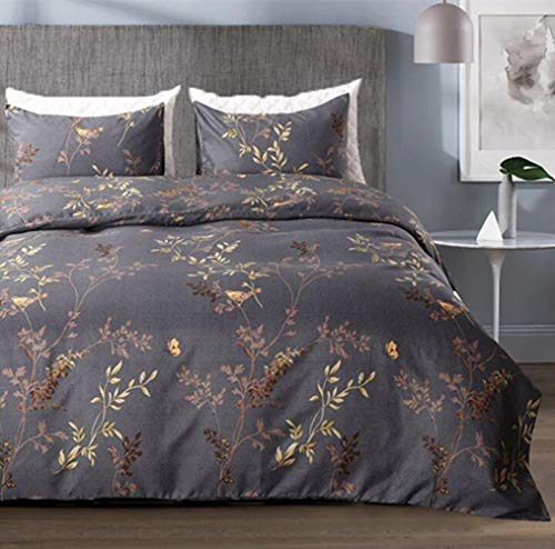 Gold Tree Branch (Tebery Ultra Soft Microfiber Duvet Cover Set with Zipper Closure Dark Grey and Gold Tree Pattern (King))