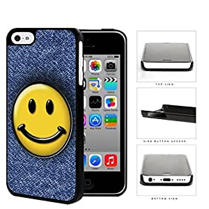 Smiley Face On Denim Jean Surface Hard Plastic Snap On Cell Phone Case Apple iPhone 5c