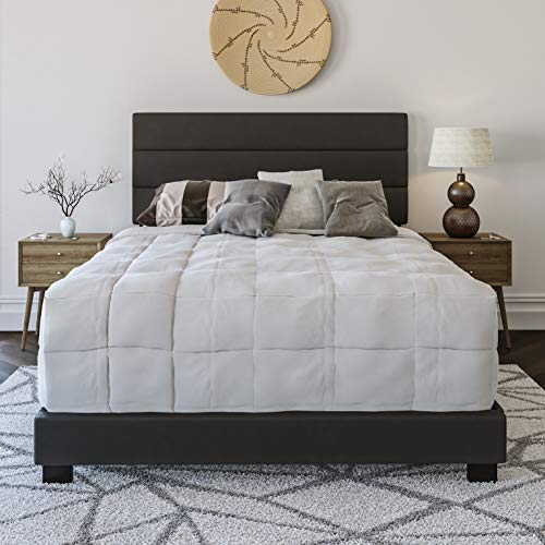 Boyd Sleep Montana Upholstered Platform Bed Frame with Tri-Panel Design Headboard : Faux Leather, Black, Queen