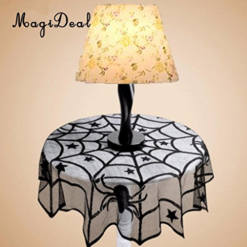 GSN Halloween Round Spider Web Tablecloth Fireplace Table Covers Party Decoration -