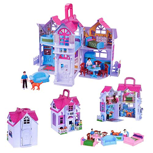 (Liberty Imports My Sweet Home Fold and Go Pretend Play Mini Dollhouse with Furniture and)