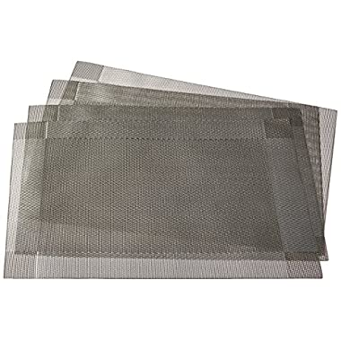 DinaChef Place Mats for Dining Table or Kitchen, Quality Thermal Bonded Edges, Reversible Placemats, Vinyl Placemat Set of 4, Rectangle Square Corner Design Mats in Grey