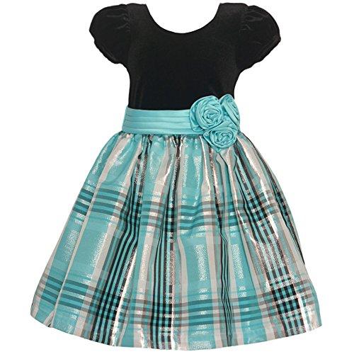 Bonnie Jean Little Girls' Short Sleeve Strectch Velvet Party Dress, Aqua, 5 - Bonnie Jean Velvet Skirt