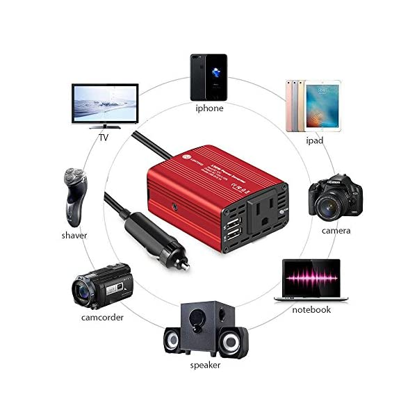 WINTEKD 150W Car Power Inverter DC 12V To 110V AC Converter With 31A Dual USB Charger Adapter