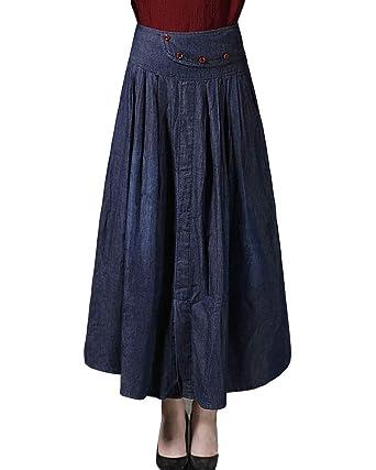 Mujer Elegante Falda Vaquera Larga Cintura Alta Falda Plisada ...