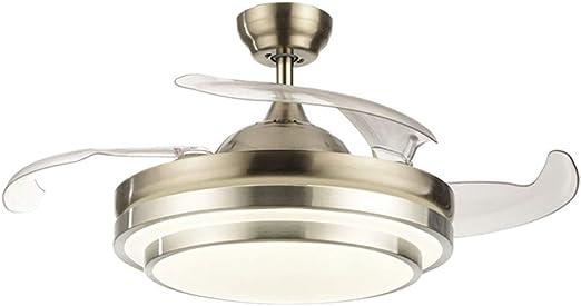OUKANING Ventilador de techo con iluminación y mando a distancia, 3 colores de luz, 36 W, LED, lámpara de techo, alas plegables, 42 pulgadas, lámpara de techo moderna para dormitorio, salón, comedor:
