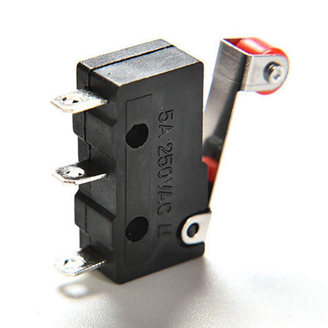 Fansport 10PCS Mini Micro Interruttore di Finecorsa Roller Lever Arm KW12-3 PCB Microinterruttore