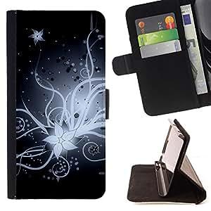BullDog Case - FOR/Apple Iphone 5C / - / flower blossom white black night art drawing /- Monedero de cuero de la PU Llevar cubierta de la caja con el ID Credit Card Slots Flip funda de cuer