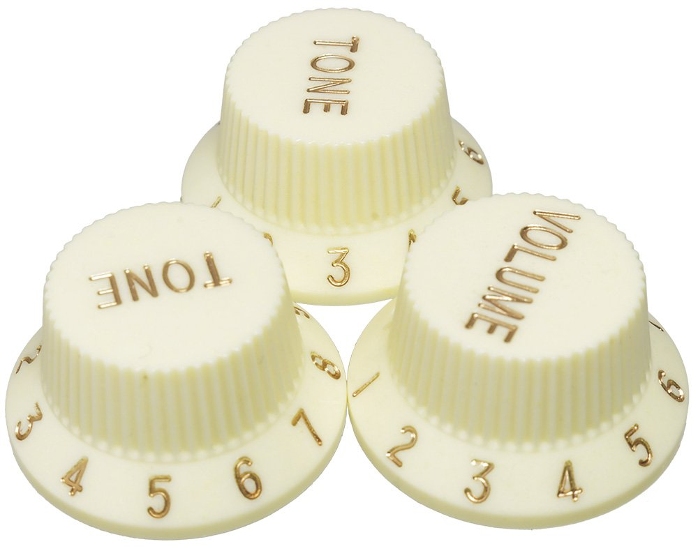 Well Strung Guitar Parts Knobs for Fender Stratocaster, Cream. Luthier Pack of 25 sets (75 knobs)