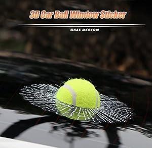 FEUERS® - Hot 3D Auto Aufkleber / Tennisball in der Scheibe /...