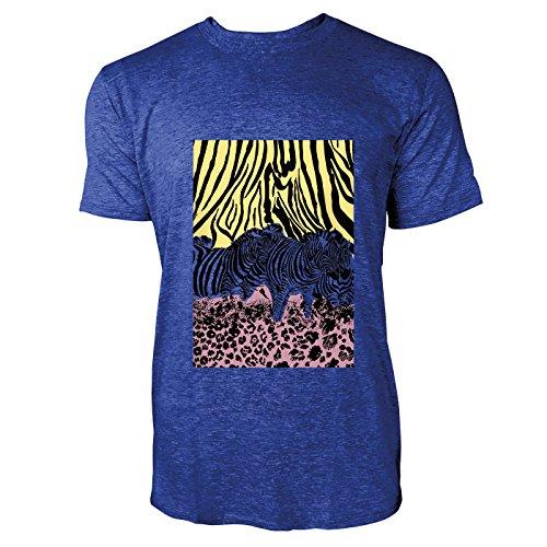 SINUS ART® Zebras vor Leopardenprint Herren T-Shirts in Vintage Blau Cooles Fun Shirt mit tollen Aufdruck