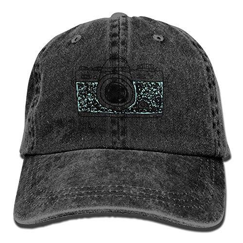 JHDHVRFRr Hat Camera Design Denim Skull Cap Cowboy Cowgirl Sport Hats for Men Women