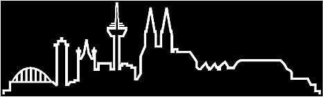 Samunshi Köln Skyline Aufkleber Silhouette In 8 Größen Und 25 Farben 15x4 4cm Weiß Küche Haushalt